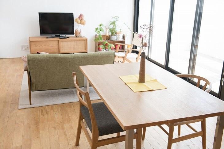 縦長リビングをソファで「間仕切り」するレイアウト。歩くスペースを確保しながら生活空間を分けることが可能