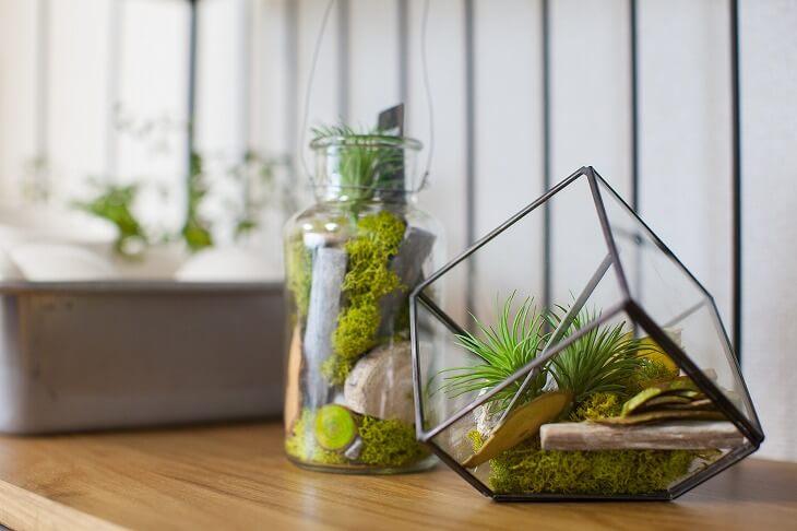 インダストリアルインテリアとグリーンは相性が良く、無骨な空間に安らぎをもたらしてくれる。入れ物にこだわるのもおすすめ