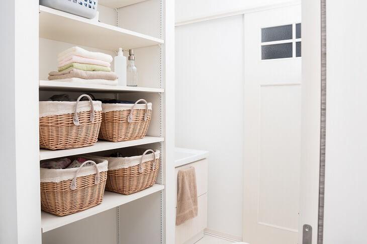 脱衣所の収納スペースを増やしたい