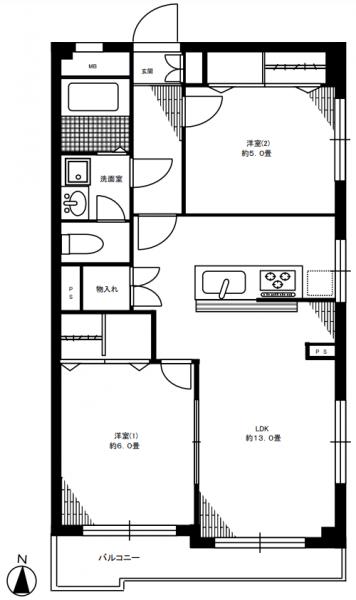 ラティス成城 205号室間取り図