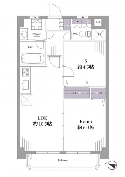 シャンボール第2目黒204号室間取り図